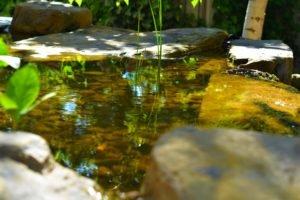 Прудик на возвышенности, перелив воды-маленький пруд, ландшафтный дизайн