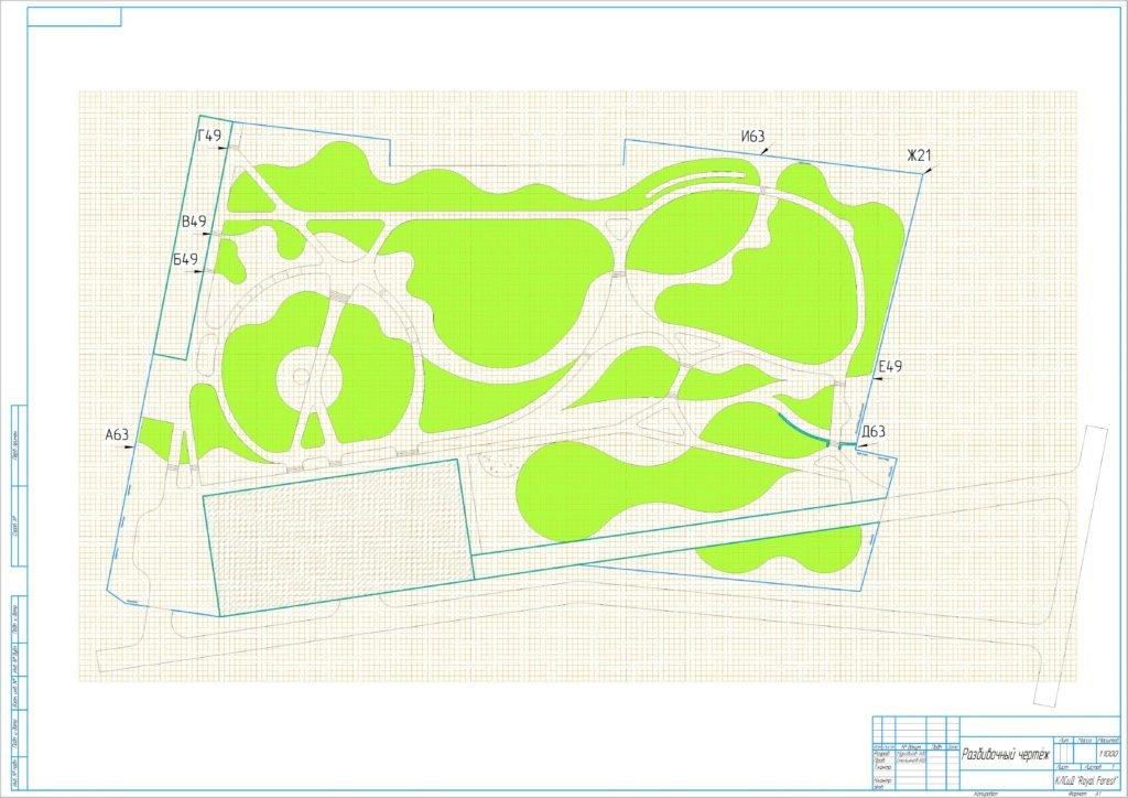 Разбивочный чертеж участка, разбивочный чертеж ландшафта, проектирование участка 1 га, проект ландшафтного дизайна 1 га