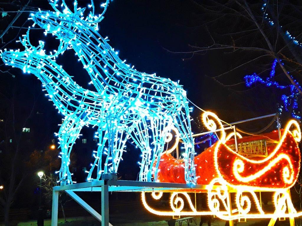 праздничные новогодние олени для улицы Мелитополь, экслюзивные новогодние олени Мелитополь, олени с санями из лампочек Мелитополь, новогодние олени с санями Мелитополь