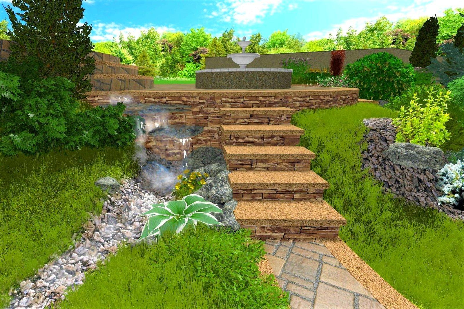 проект водопада на участке в Киеве, проект водопада в саду Киев, проект водопада на даче Киев, проект водопада в Киеве