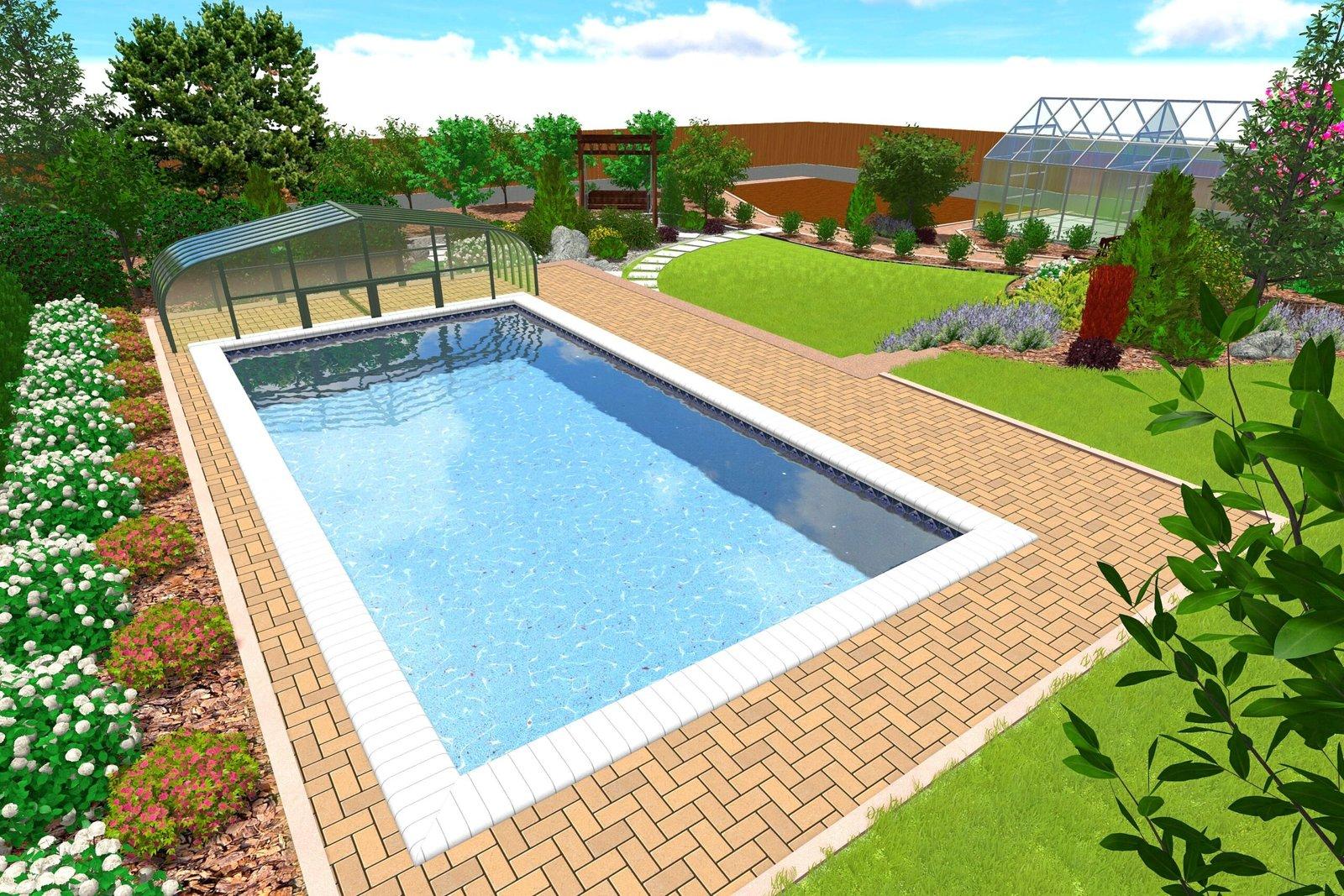 Проект 3д бассейна Киев, 3д проект бассейна в саду Киев, проект 3д ландшафтный дизайн бассейн Киев