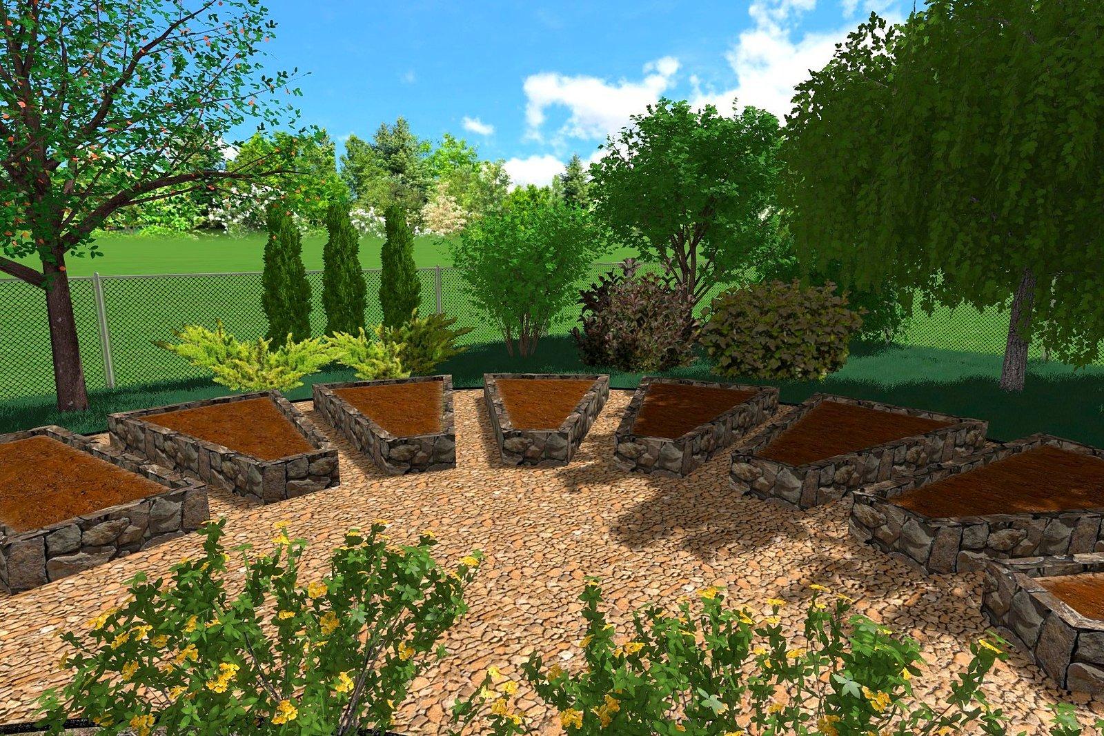 Трехмерное моделирования ландшафтного дизайна огорода в Киеве, Моделирование ландшафтного дизайна огорода в Киеве, 3д ландшафтного дизайна гряд в Киеве