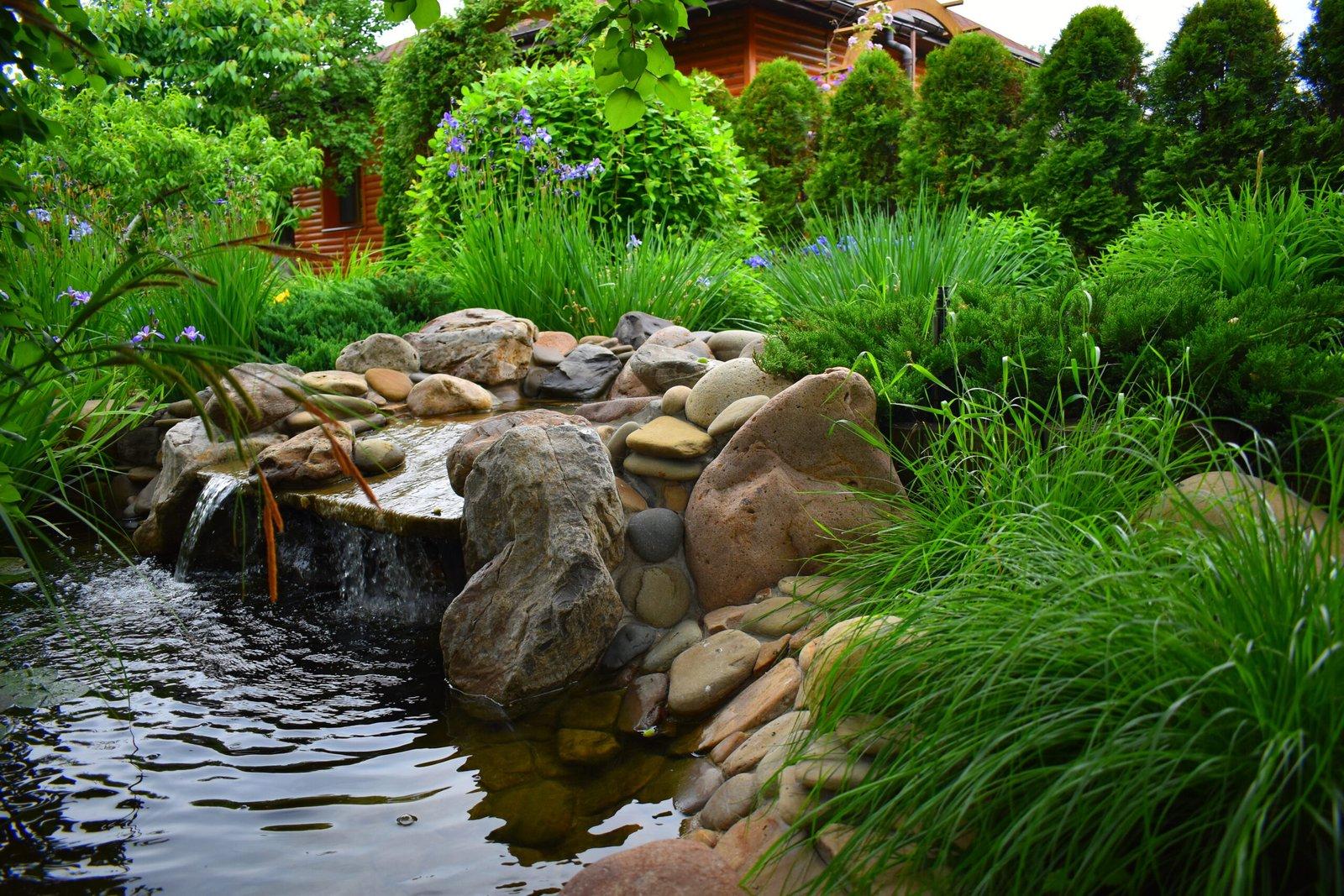 Архитектурный объект, садовая мебель, искусственный водоем, растения для ландшафтного дизайна