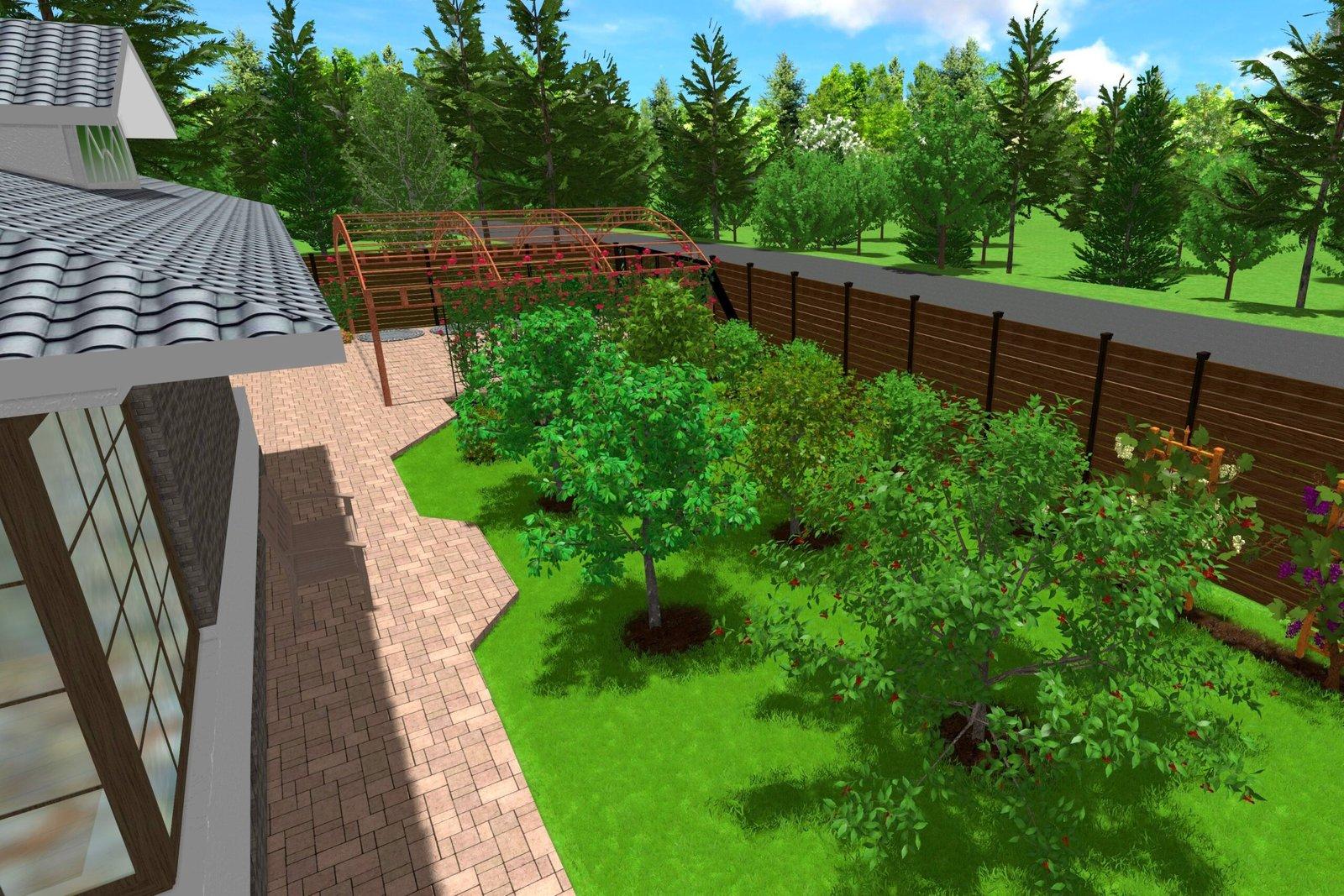 внутренний дворик участка, Загородный дом озеленение, хозяйственная зона на участке, огород в ландшафте,