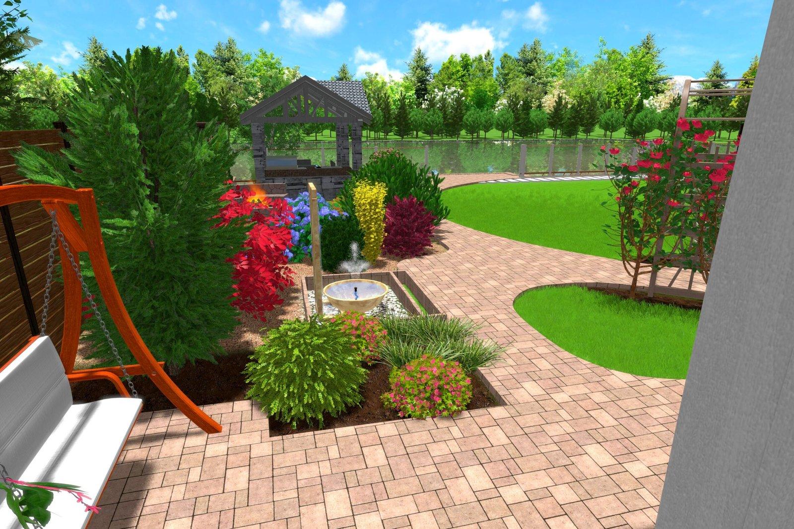 Дизайн дворовой территории частного дома, высадка рулонного газона,